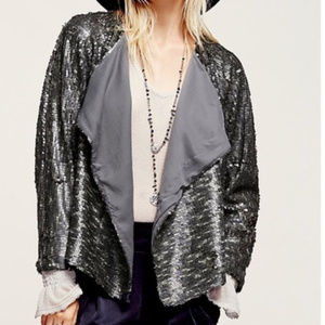 Free People Drippy Silver Sequin Jacket